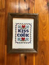 Kiss The Cook Kitchen Home Decor Heart Sign Framed Handmade Cross Stitch