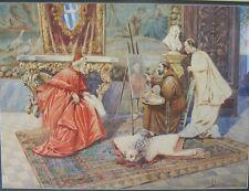 Huge 19th C. Italian Watercolor Painting  ROBERTO GIGLIO   Catholic Bishop