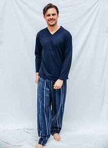 Mens PJS Size S-XXL Pyjamas Pelaco Cotton Top Flannel Pants Navy Blue 6126303