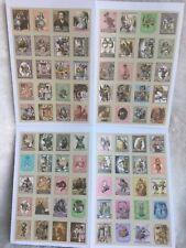 4 Sheets Alice in Wonderland Sticker Paper Stamp vintage Scrapbook 80 stickers
