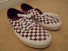 NEW VANS burgundy checkerboard COTTON CANVAS CASUAL SNEAKERS SHOES UK 10 EU 44.5