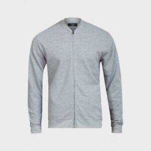 Men's Navy/Grey Cotton Bomber Cardigans/Jackets Ex UK Chainstore. Sizes S - XXL.