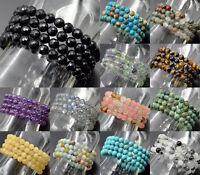 Natural 6mm Gemstone Buddhist Yoga Beads Prayer Mala Stretchy Bracelet Necklace
