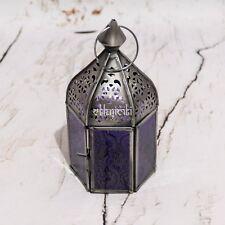 Fair Trade Moroccan Style Iron & Glass Lantern Tea Light Holder Home & Garden