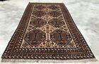 Authentic Hand Knotted Afghan Vintage Zakani Balouch Wool Area Rug 7 x 4 Ft