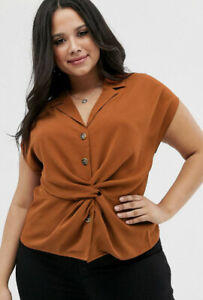 Asos Brave Soul Plus maxwell twist front blouse in rust 22
