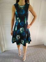 Coast Floral Fit And Flare Satin Dress Black White Green Blue Size 8