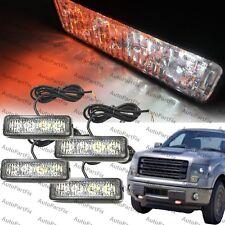 4x 4 LED 4W Emergency Security Grill Marker Flash Strobe Light White Amber