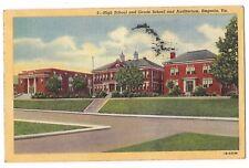 GRADE & HIGH SCHOOL AUDITORIUMS Building Emporia Virginia Postcard VA Linen 1950