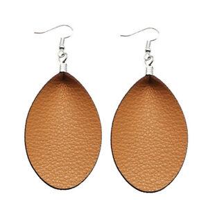 Fashion Women Vintage Leather Ear Studs Dangle Pendant Dangly Teardrop Earrings