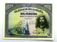 Spain-Billete. Fernando III el Santo. 1000 Pesetas 1928. EBC/XF. Muy bonito