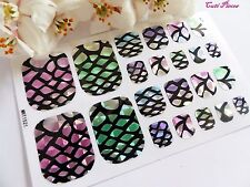 Nails Self Adhesive Full Toe Polish Wrap Sticker Mermaid Scales Stained Glass T6