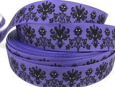 "BTY 7/8"" Purple Haunted Mansion Disney Grosgrain Ribbon Hair Bows Lisa"