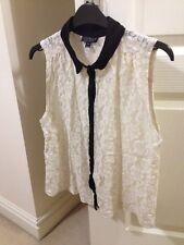 Topshop Cream Lace Sleeveless Shirt Size 10
