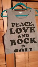 I Love H81 Forever 21 Peace Love and Rock n Roll Tank Top s/p
