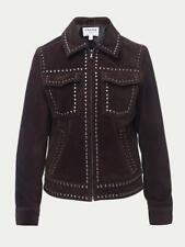 $995 FRAME Women's Leather Jacket XS Chocolate Brown Suede Studded Coat