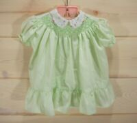 Vtg Polly Flinders Baby Girl Sz 12 mo Dress Smocked Embroidered Pastel Green