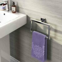 Modern Bathroom Square Towel Rack  Towel Ring Holder Chrome Wall Mounted