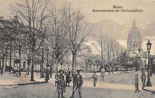 AK Mainz Kaiserstrasse mit Christuskirche Strasse belebt Kinder Postkarte 1909
