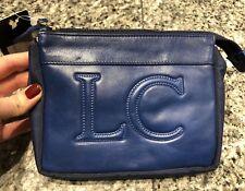 Les Copains Blue Leather Nylon Cosmetic Case