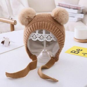 Baby Warm Knitted Hat Double Pompom Kids Winter Bonnets Solid Color Ear Protect