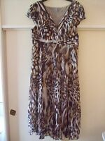 Woman's Cream/Brown  Lined Dress from Per Una, Size 14