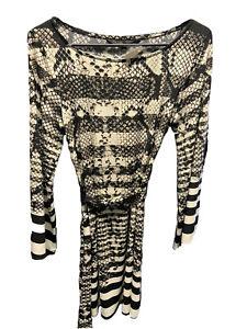 charlie brown black/cream patterned l/s dress - size 12