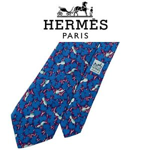 Hermes Tie - Light Blue Floral Leaf Design 100% Silk Authentic French Necktie