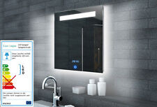 Badspiegel Spiegel fürs Badezimmer mit Led Licht, Uhr und Touchschalter 60x65 cm