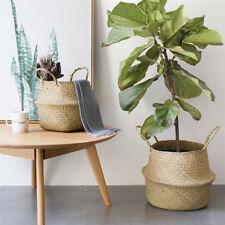 Rattan Straw Braid Storage Pot Laundry Flower Vase Handheld Hanging Basket S/M/L