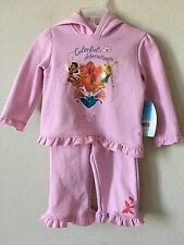 NWT Disney Pink Tinkerbell Rosetta Flower Hoodie Pants Set 2 Pc, Size 18M