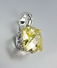 Designer Style Silver Gold Balinese Filigree Yellow Citrine CZ Crystal Pendant