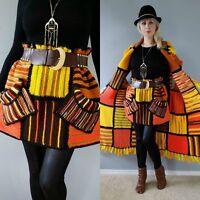 Vtg 70s COLORBLOCK Indian Ethnic Boho Hippie Festival Crochet Mini Dress Skirt