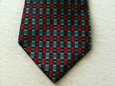 Ziggurat 100% Silk Neck Tie Authentic Hand Made by Mullberry Black Red Tux