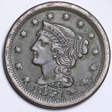 1851 Braided Hair Large Cent CHOICE XF FREE SHIPPING E112 ET
