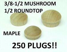 """3/8"""" 1/2"""" Maple Mushroom Furniture Buttons Wood Screw Hole Plugs Round Head Es"""