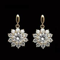 2.00 Ct Round Cut Diamond Cluster Drop Dangle Earrings 14k Yellow Gold Finish