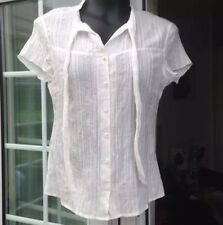 VILA CREAM PIN STRIPED & CRINKLED CAP SLEEVED BLOUSE - SIZE L