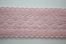 5 Yard X 60mm stile vintage rosa cotone pizzo nastro di rifinitura
