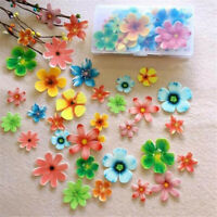 50 Pcs Edible Flowers Cupcake Topper Glutinous Rice Paper Water Cake Decoration