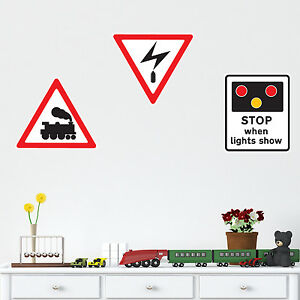 Railway / Train / Level Crossing - Children's Road Sign Wall Sticker Pack