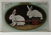 Easter Rabbits Bunny in A Cart A Load of Love Vintage Postcard G1