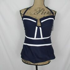 Halter Tankini Top Convertible Strapless Navy Blue size 12 New $34.98