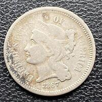 1867 Three Cent Piece Nickel 3c Better Grade 180° ROTATED DIES #22576