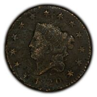 1820 1c Coronet Head Large Cent - High-Grade XF+ Details - SKU-Y2334