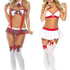 Sexy Girl Lingerie Nurse Or Student Uniform Costume Suspender Halloween CosplayD