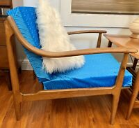 EPIC Sloped Mid Century Arm Chair Danish Teak Wood Poul Volther Juhl Style MCM