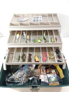 "Plano 16"" 3 Shelf Tackle Box w/ Lures Hooks Jitterbug Rapala"