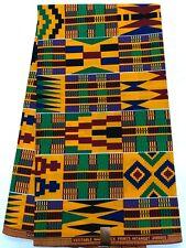 African Kente Print /African Print Fabric/ African Clothing/Green,Yelow, Black