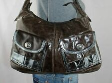 TANO Medium Brown Leather Shoulder Hobo Tote Satchel Slouch Purse Bag